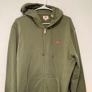 Levi's Zip Up Hoodie. Green, Size: Large.